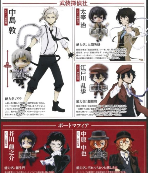 Bungo Stray Dogs - Character Swing Charms Set of 5