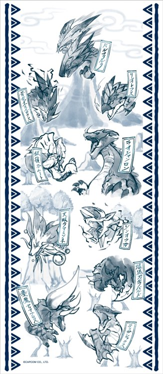 Monster Hunter XX - Japanese pattern Washcloth Blue
