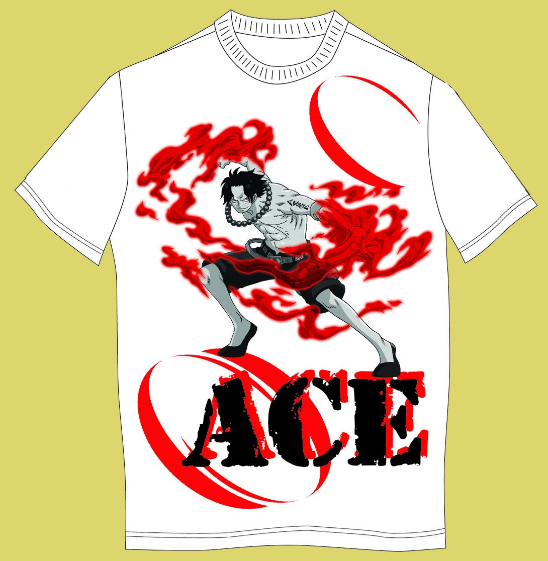 One Piece - Fire Ace White T-Shirt Medium