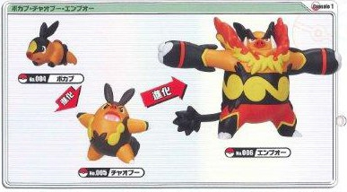 Pokemon - Black & White Rittai Solid Bodied Evolution Figure Tepig Pignite Emboar