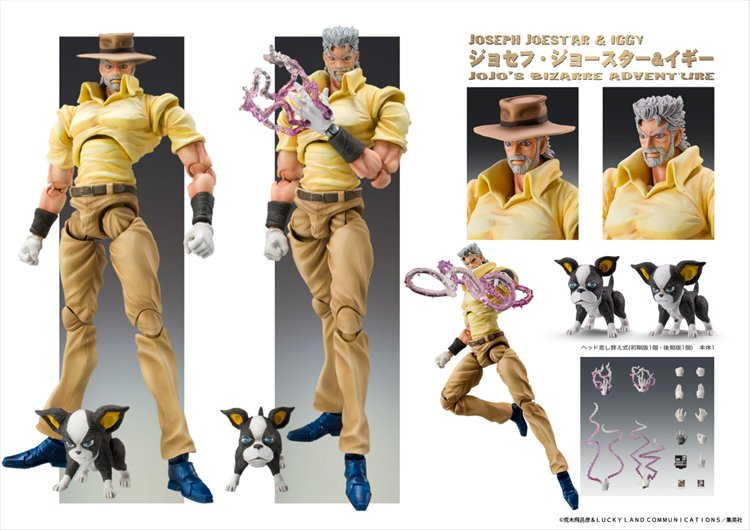 Jojos Bizarre Adventure Part 3 Stardust Crusaders - Joseph Joestar and Iggy Chozokado Figure Release